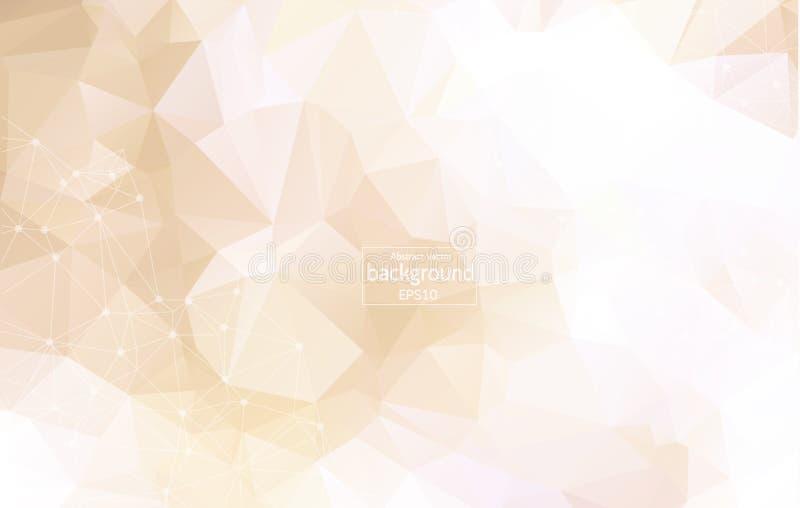 几何抽象的背景 Wireframe滤网多角形背景 与被连接的线和小点的抽象形式 抽象polygona 库存例证