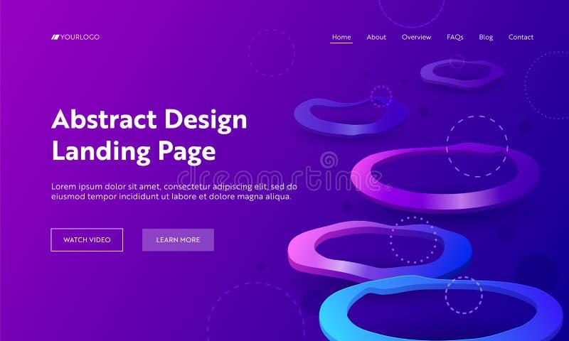 几何抽象紫色畸变圈子着陆页背景 最小的未来派背景紫罗兰霓虹灯 向量例证