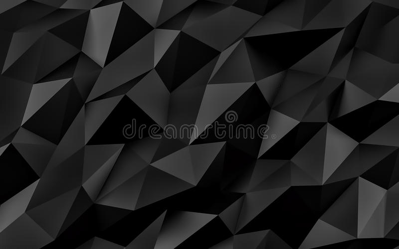 几何抽象背景的黑色 与阴影的金子纹理 3d回报 库存照片