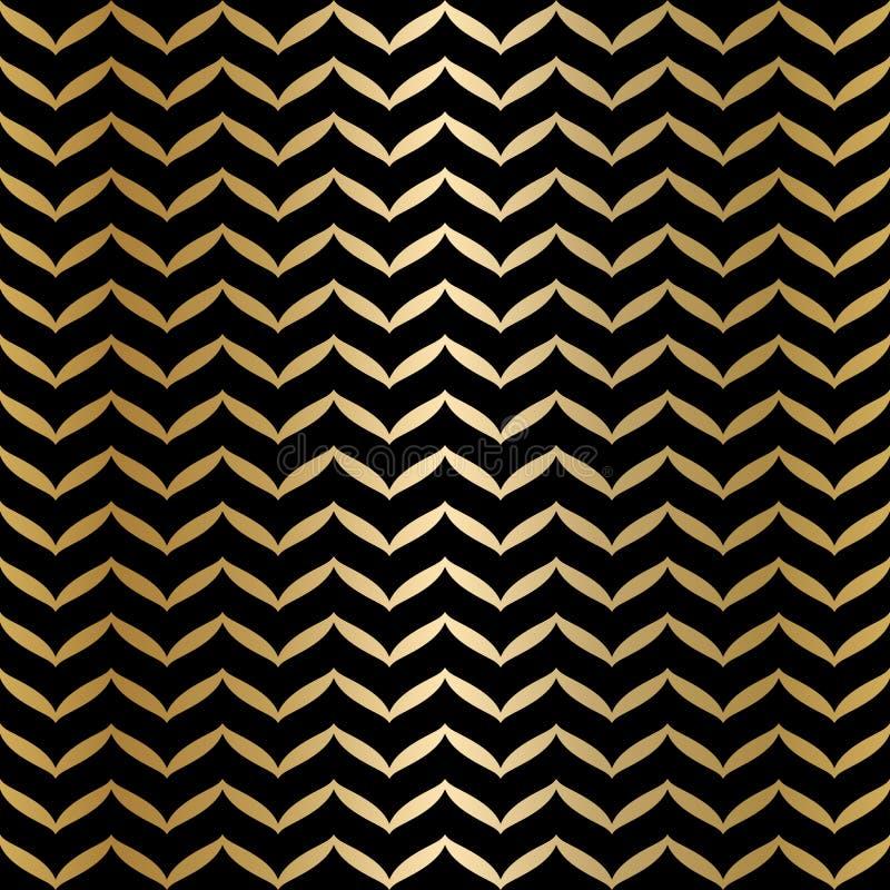 几何无缝的黑和金子纹理 金黄包装纸样式背景 简单的豪华图表印刷品 传染媒介重复 库存例证