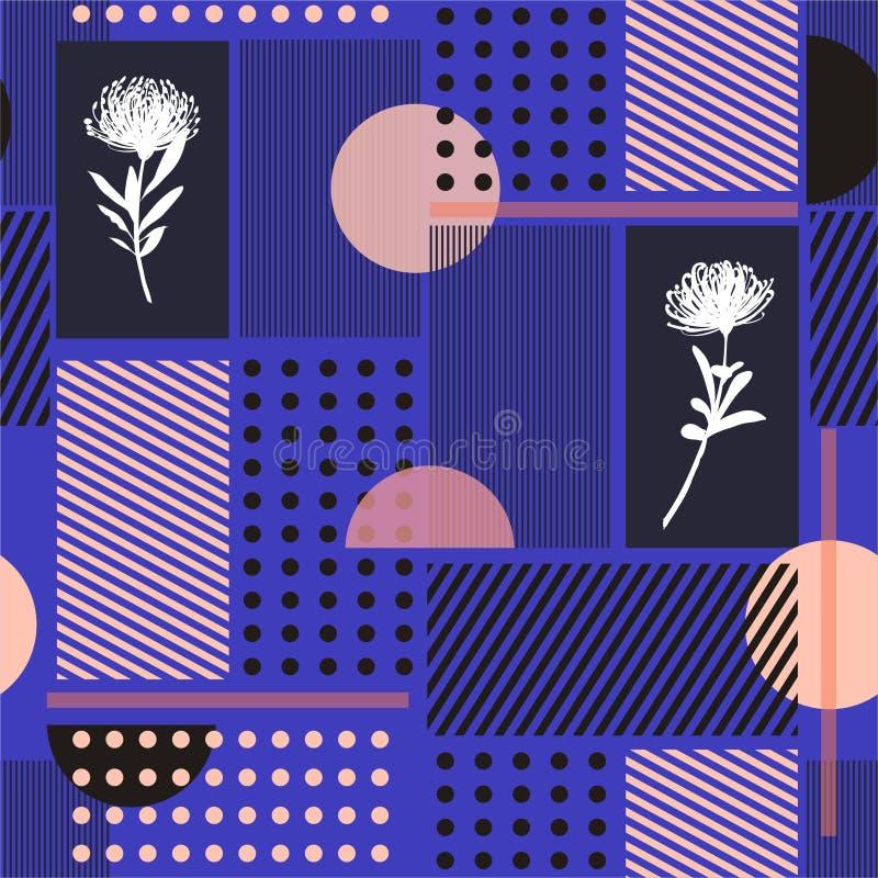 几何最小的无缝的样式简单的形状和剪影花和条纹现代传染媒介样式设计fashin的,织品, 皇族释放例证