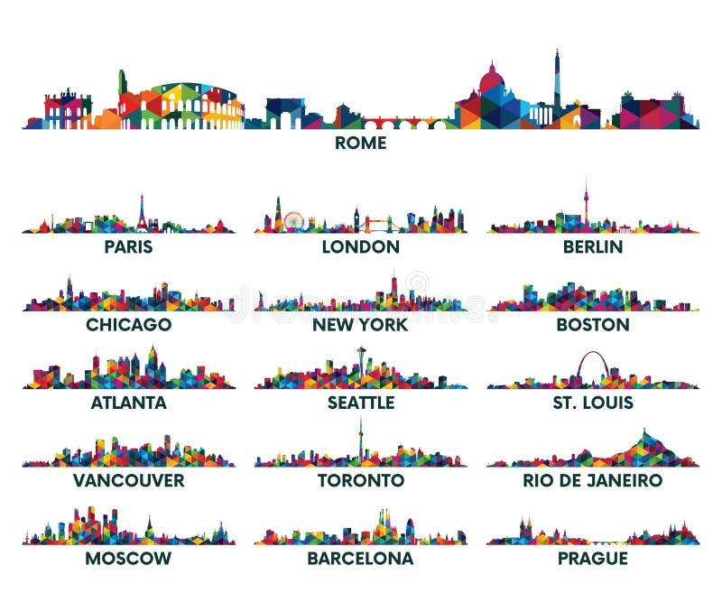 几何样式地平线城市美国和欧洲 库存例证