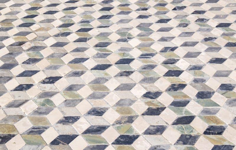 几何样式瓦片在庞贝城意大利 库存照片