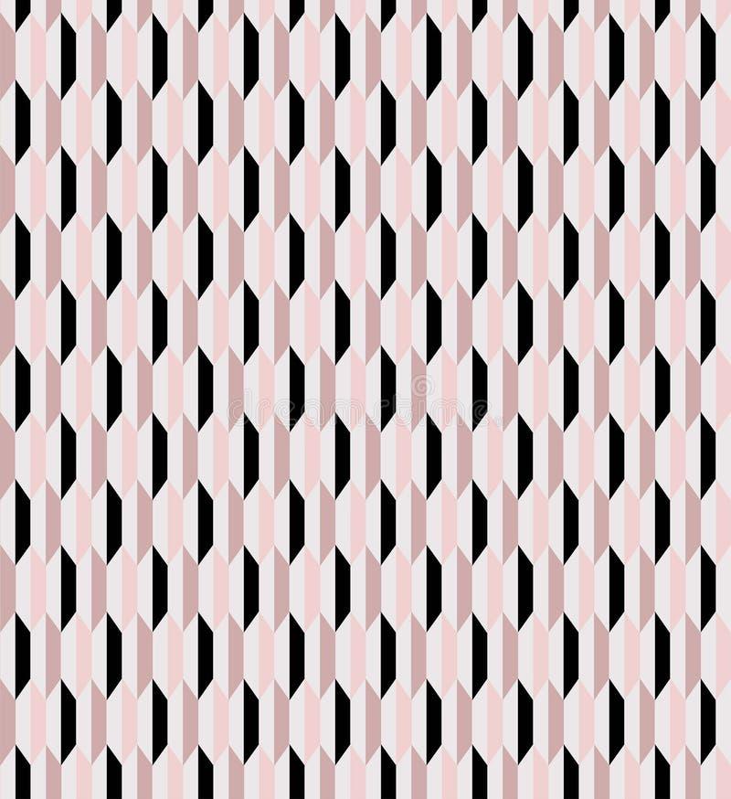 几何桃红色和黑无缝的传染媒介样式瓦片 库存例证