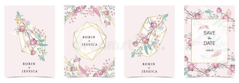 几何桃红色绿色,金子与玫瑰的婚礼请帖 向量例证