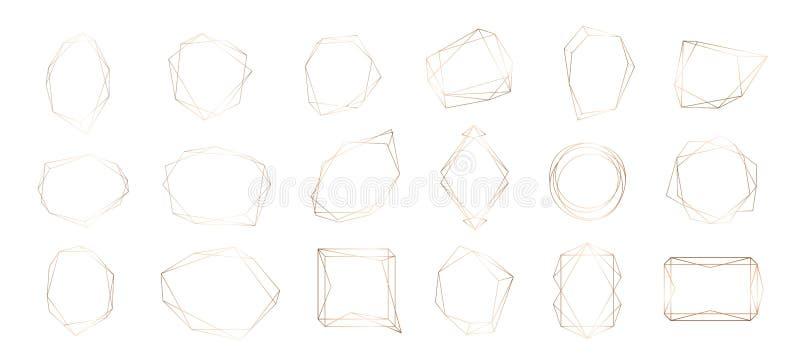 几何框架的金汇集 商标的装饰元素,烙记,卡片,邀请 库存例证