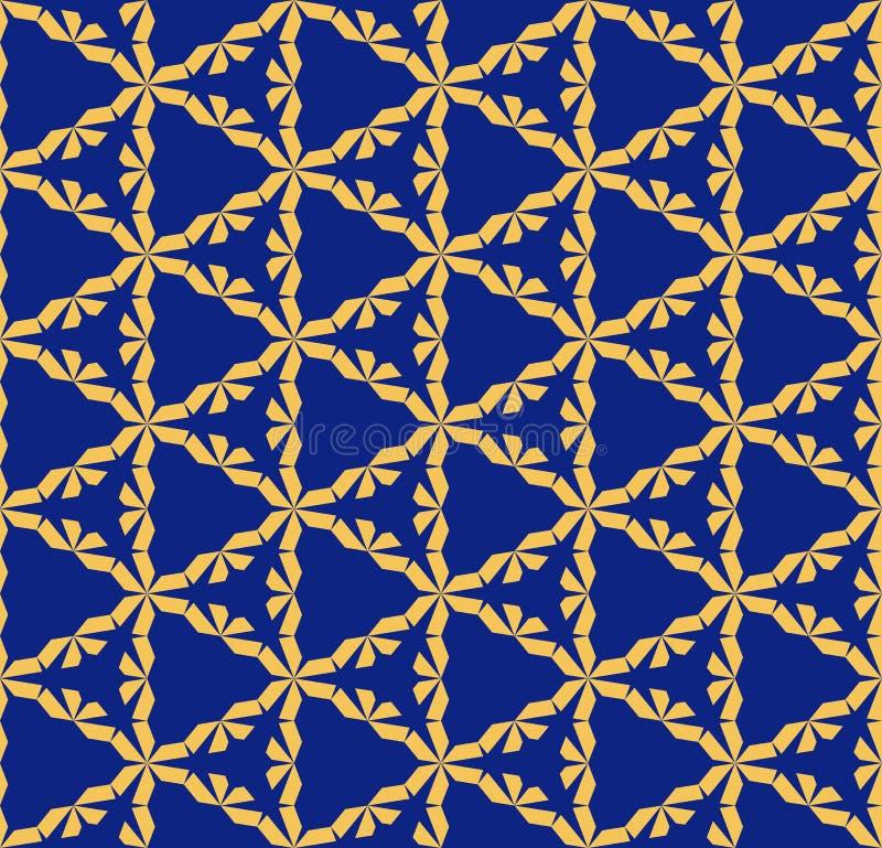 几何模式无缝的向量 蓝色和黄色抽象栅格纹理 向量例证