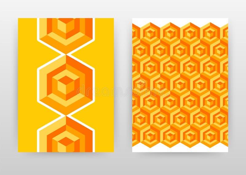 几何橙黄色六角形求年终报告的,小册子,飞行物,海报业务设计的立方 几何背景传染媒介 库存例证