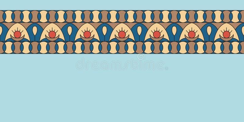 几何民间传说装饰品 种族传染媒介纹理 在葡萄酒样式的装饰丝带 Coloful例证 皇族释放例证