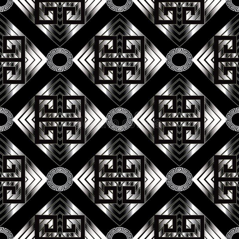 几何河曲无缝的样式 黑传染媒介几何abstra 向量例证