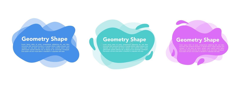 几何液体五颜六色的抽象形状集合 现代设计被隔绝的白色背景 皇族释放例证