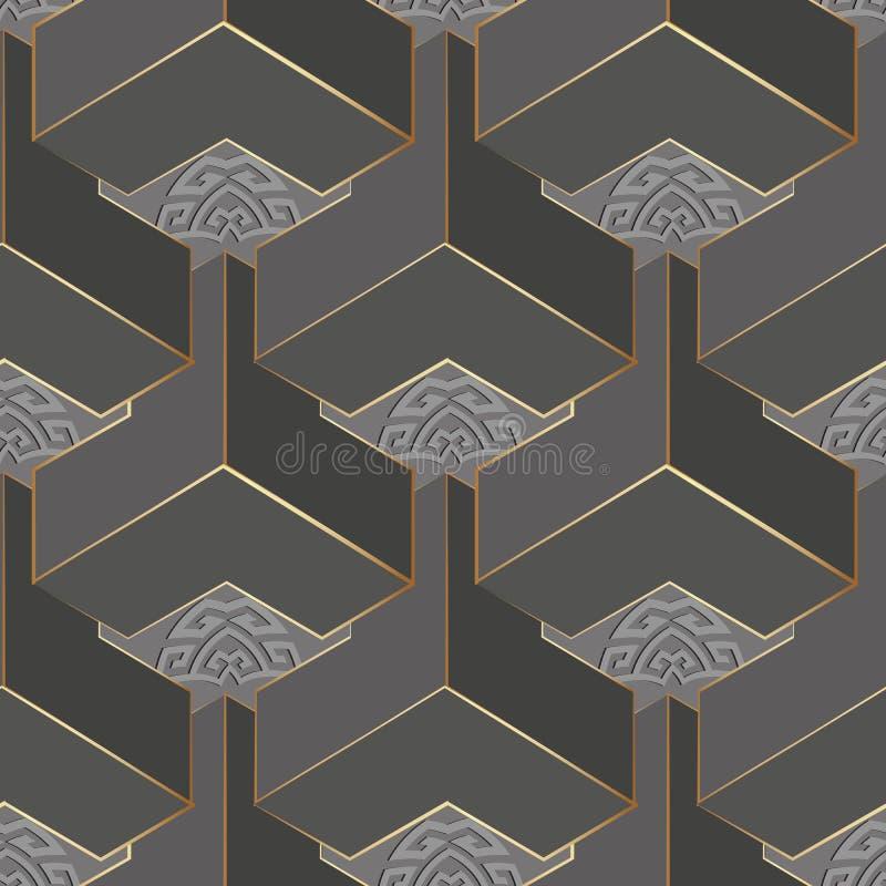 几何灰色3d希腊人传染媒介无缝的样式 摘要装饰表面背景 E ?? 皇族释放例证