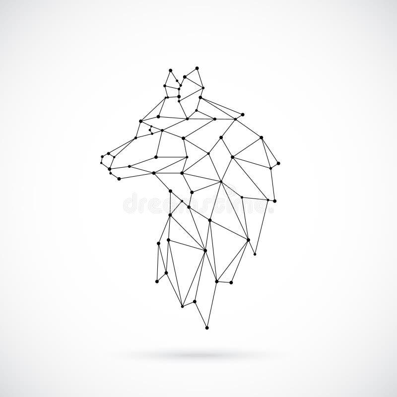 几何狼剪影 向量例证