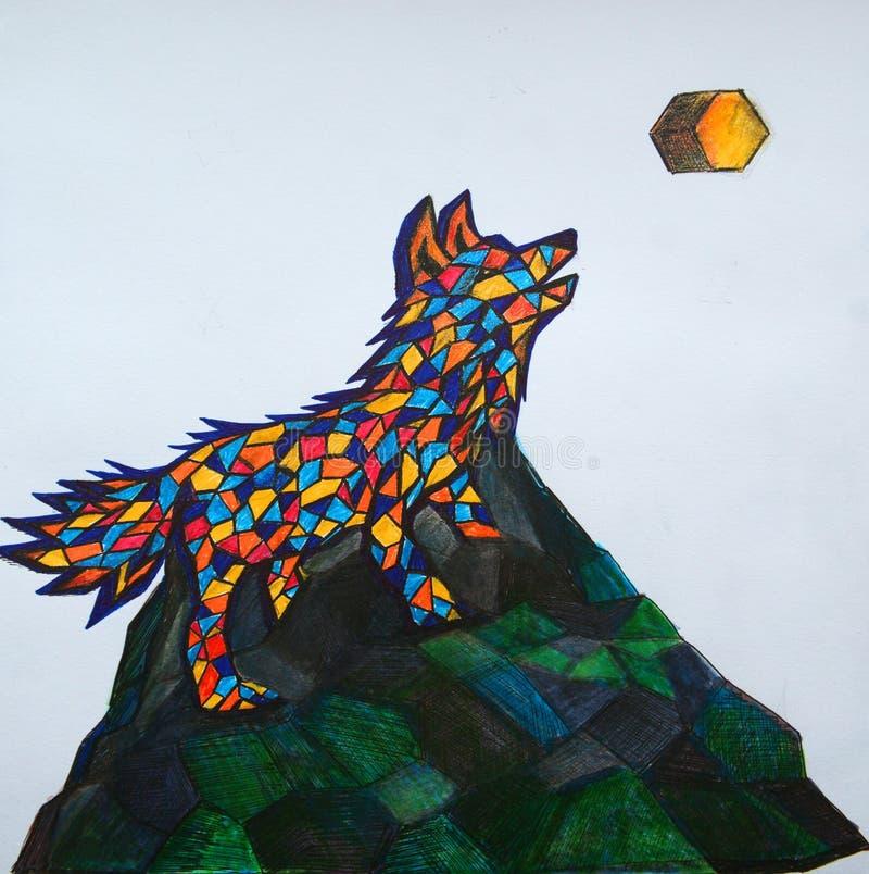 几何狼嗥叫在有角月亮 皇族释放例证
