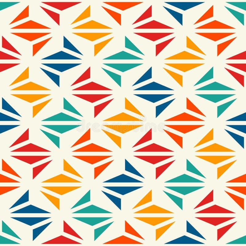 几何现代印刷品 与重复的三角的当代抽象背景 与origami形式的无缝的样式 向量例证