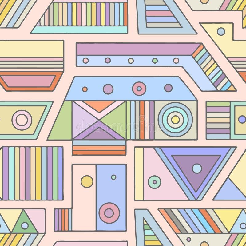 几何用不同的几何形式的传染媒介无缝的样式 正方形,三角,长方形,小点,圈子 现代techno 库存例证