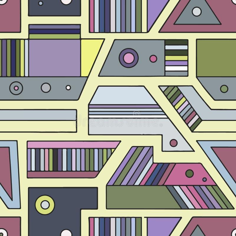 几何用不同的几何形式的传染媒介无缝的样式 正方形,三角,长方形,小点,圈子 现代techno 向量例证