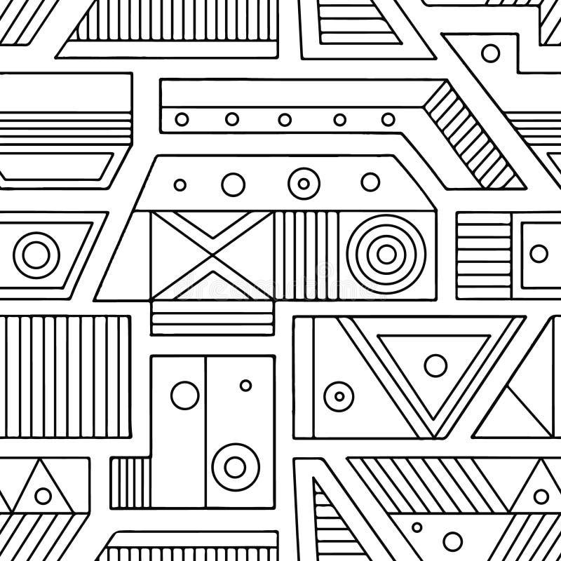 几何用不同的几何形式的传染媒介无缝的样式 正方形,三角,长方形,小点,圈子 现代techno desi 库存例证