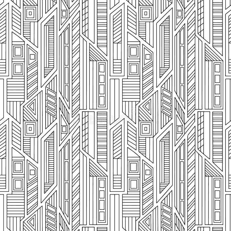 几何用不同的几何形式的传染媒介无缝的样式 正方形,三角,长方形,线 现代techno设计 库存例证