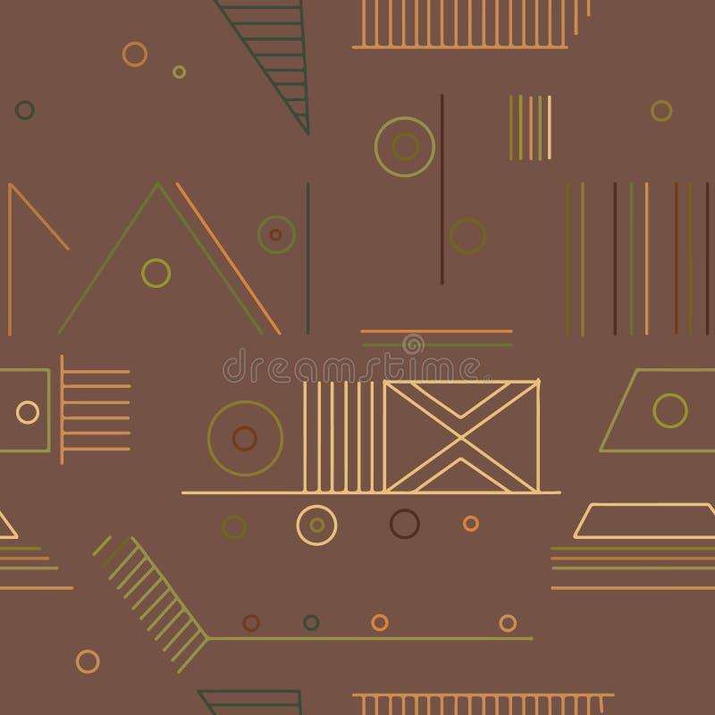 几何用不同的几何形式的传染媒介无缝的样式 正方形,三角,长方形,线 现代techno设计 向量例证