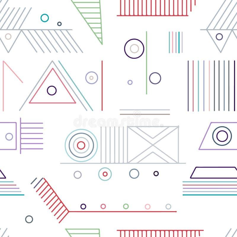 几何用不同的几何形式的传染媒介无缝的样式 正方形,三角,长方形,线 现代techno设计 皇族释放例证