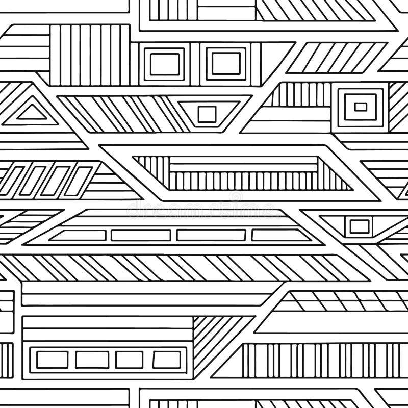 几何用不同的几何形式的传染媒介无缝的样式 正方形,三角,长方形,线 现代techno设计 Abst 库存例证
