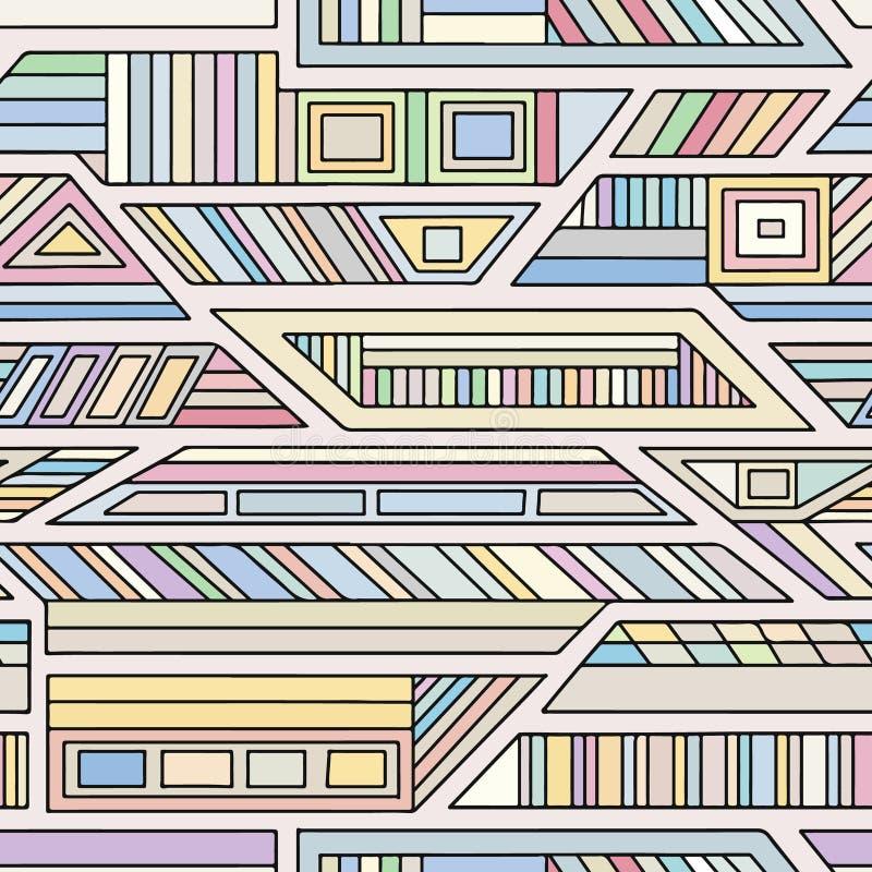 几何用不同的几何形式的传染媒介无缝的样式 正方形,三角,长方形,线 现代techno设计 Abst 皇族释放例证