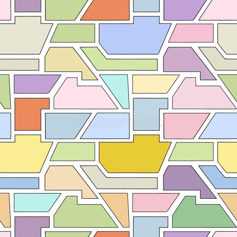 几何用不同的几何形式的传染媒介无缝的样式 正方形,三角,长方形 现代techno最小的设计 库存例证