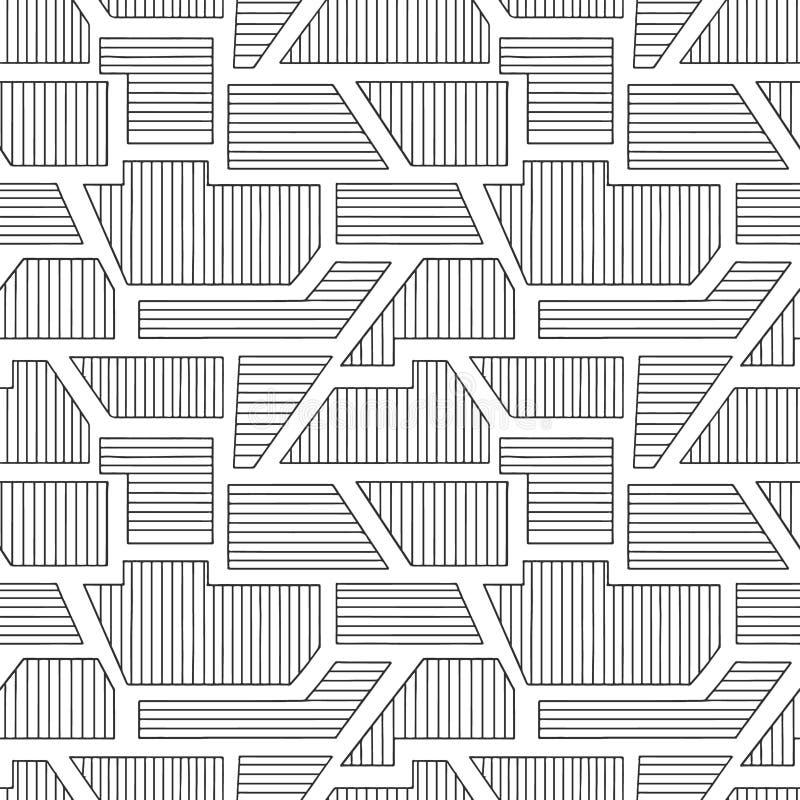 几何用不同的几何形式的传染媒介无缝的样式 镶边正方形,三角,长方形 最小现代的techno 库存例证