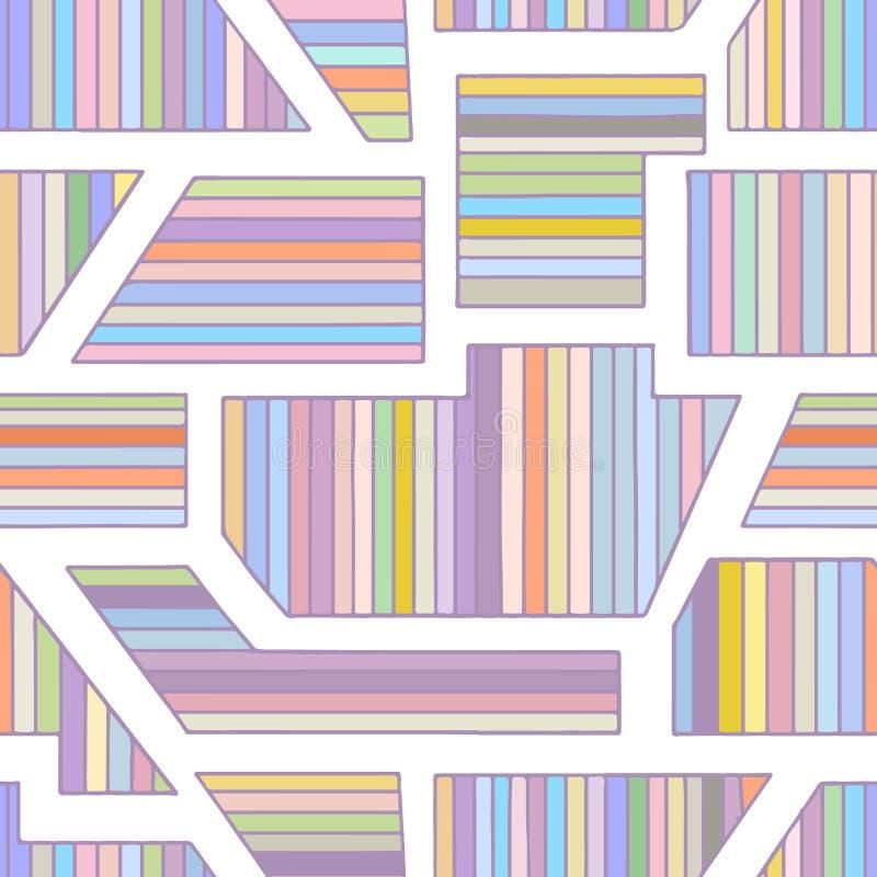 几何用不同的几何形式的传染媒介无缝的样式 镶边正方形,三角,长方形 现代techno最小的des 向量例证