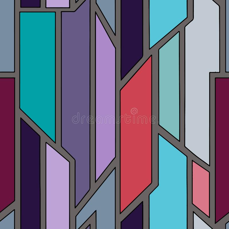 几何用不同的几何形式的传染媒介蓝色无缝的样式 正方形,三角,长方形 现代techno最小的设计 库存例证