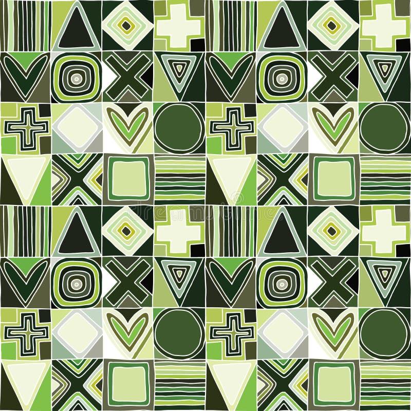 几何用不同的几何手拉的形式的传染媒介无缝的样式 正方形,三角,长方形,小点,圈子十字架 向量例证