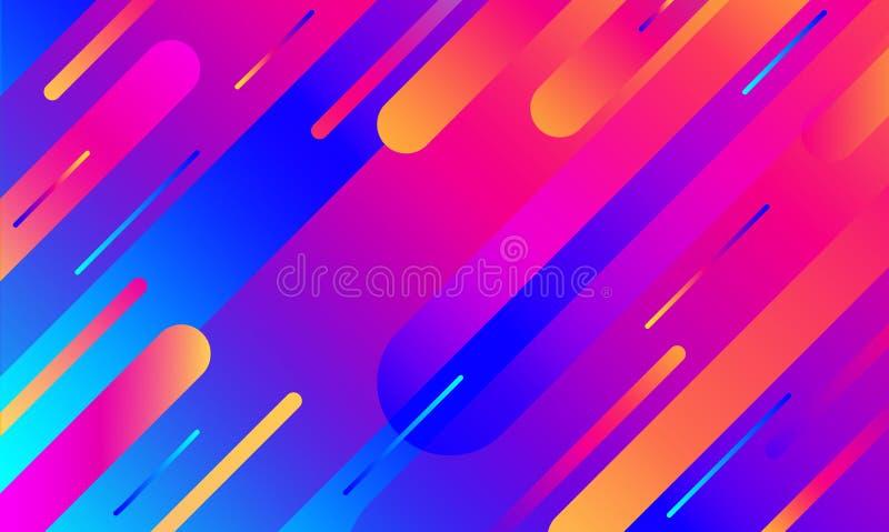几何盖子 梯度五颜六色的条纹构成 凉快的现代霓虹蓝色颜色 抽象可变的形状 液体和流动海报 向量例证