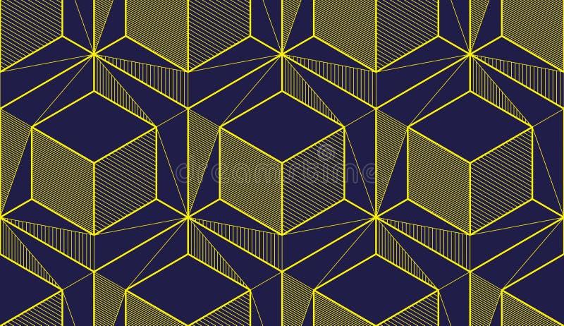 几何立方体提取无缝的样式, 3d传染媒介背景 技术样式工程学线描不尽的例证 皇族释放例证