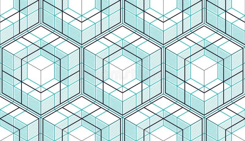 几何立方体提取无缝的样式, 3d传染媒介背景 皇族释放例证