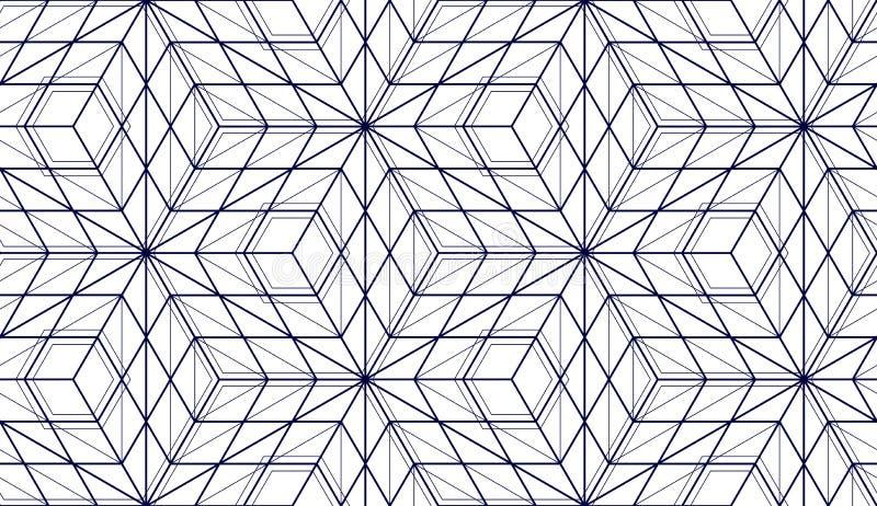 几何立方体提取无缝的样式, 3d传染媒介背景 库存例证