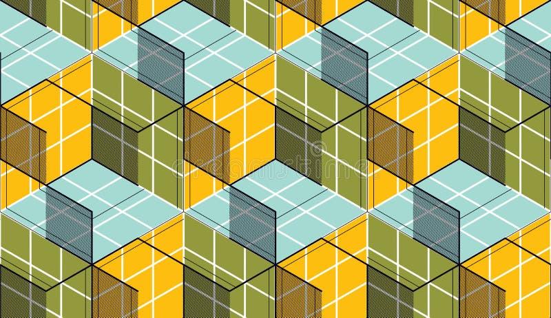 几何立方体提取无缝的样式, 3d传染媒介背景 向量例证