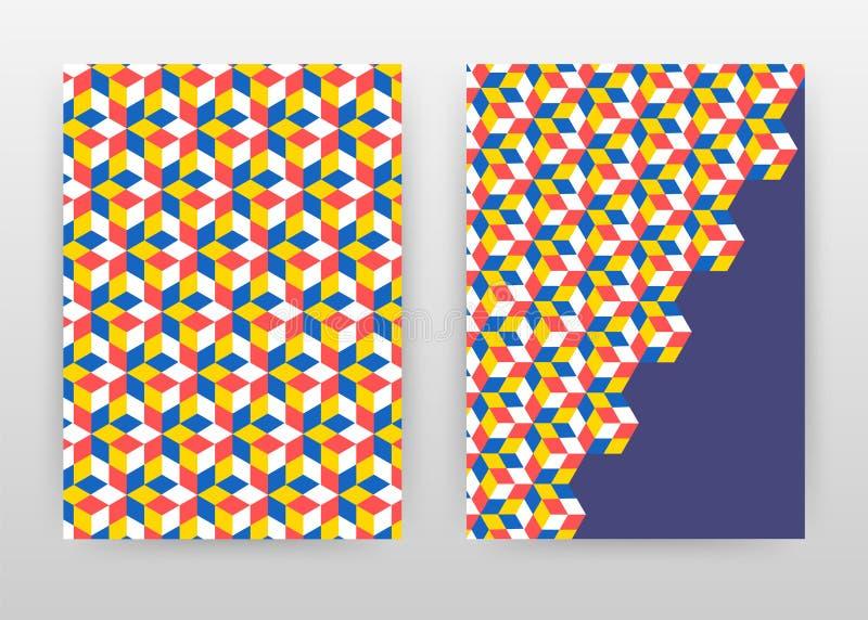 几何红色蓝色黄色立方体 企业年终报告的,小册子,飞行物,海报背景设计 几何立方体摘要 向量例证