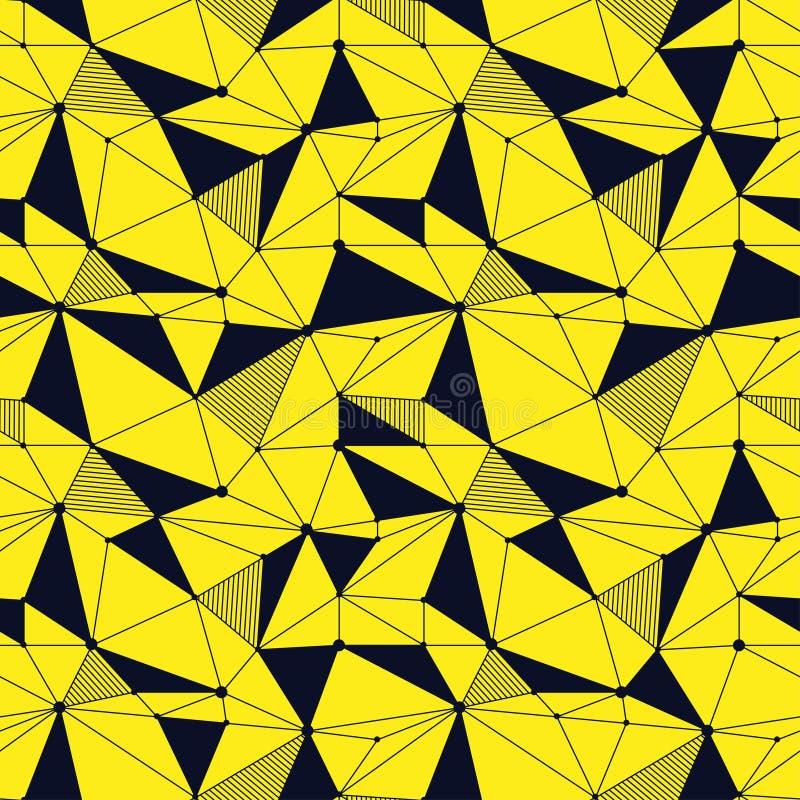 几何线与三角,小点的行家无缝的样式 网状的抽象线性栅格 减速火箭的剪贴薄 向量 皇族释放例证