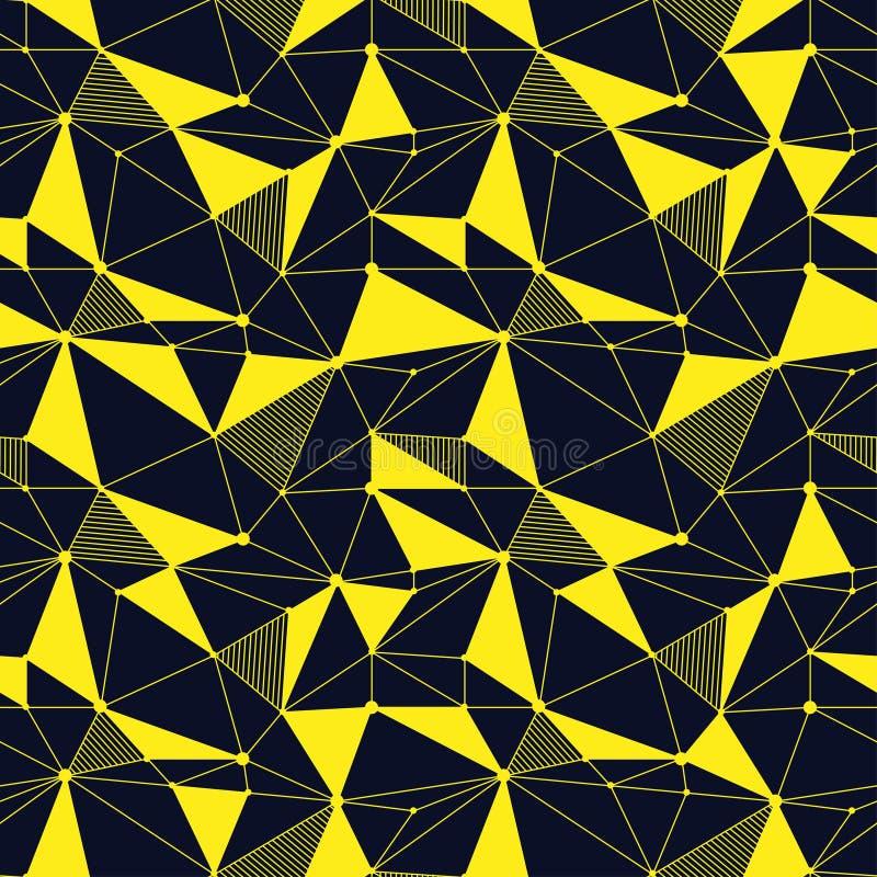 几何线与三角,小点的行家无缝的样式 网状的抽象线性栅格 减速火箭的剪贴薄 向量 库存例证