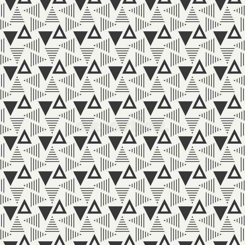 几何线单色抽象与三角的行家无缝的样式 饮料例证纸张减速火箭主题向量包裹 剪贴薄纸 盖瓦 库存例证