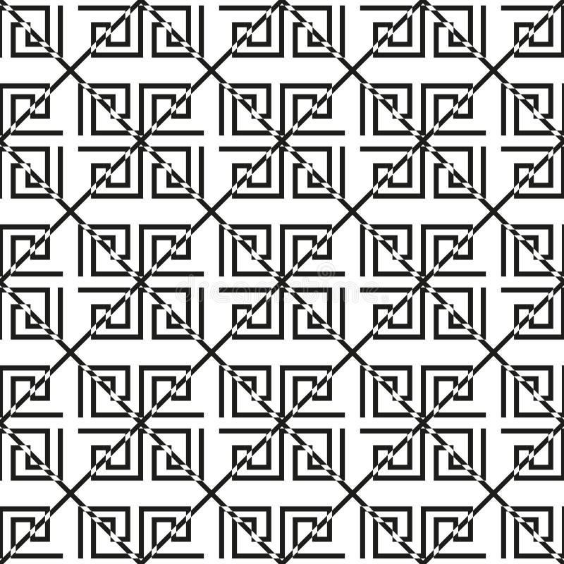 几何线路 与希腊古色古香的主题的抽象无缝的样式 也corel凹道例证向量 织品布料的抽象背景, 向量例证