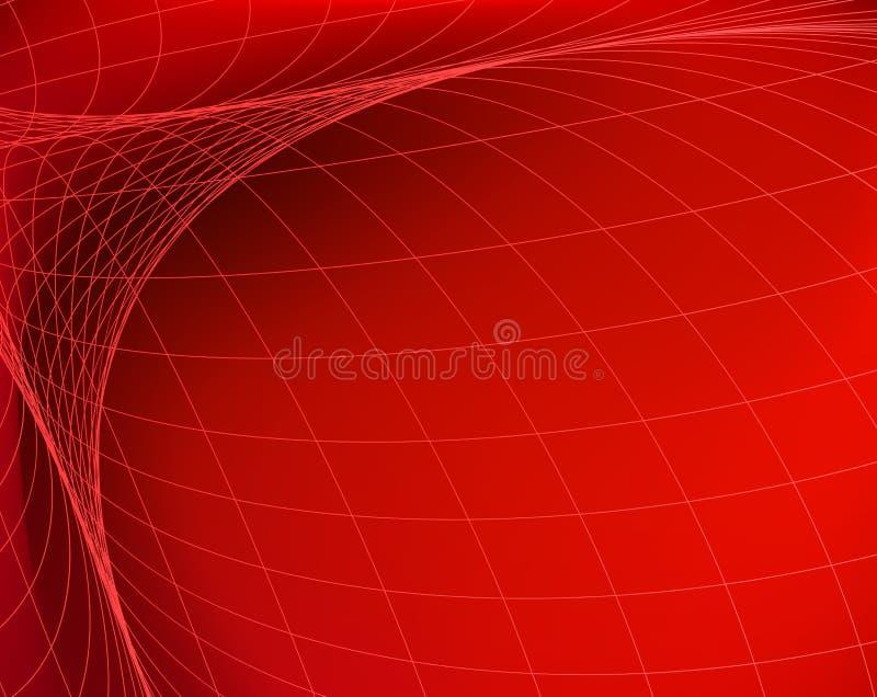 几何结构 在红色空间的网络 抽象横幅技术 向量例证