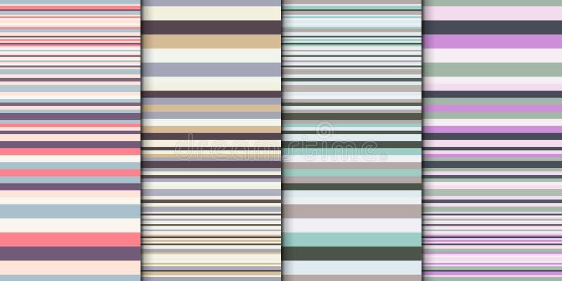 几何背景集合 与五颜六色的条纹另外宽度的抽象传染媒介背景 逐渐改变的条纹 库存例证