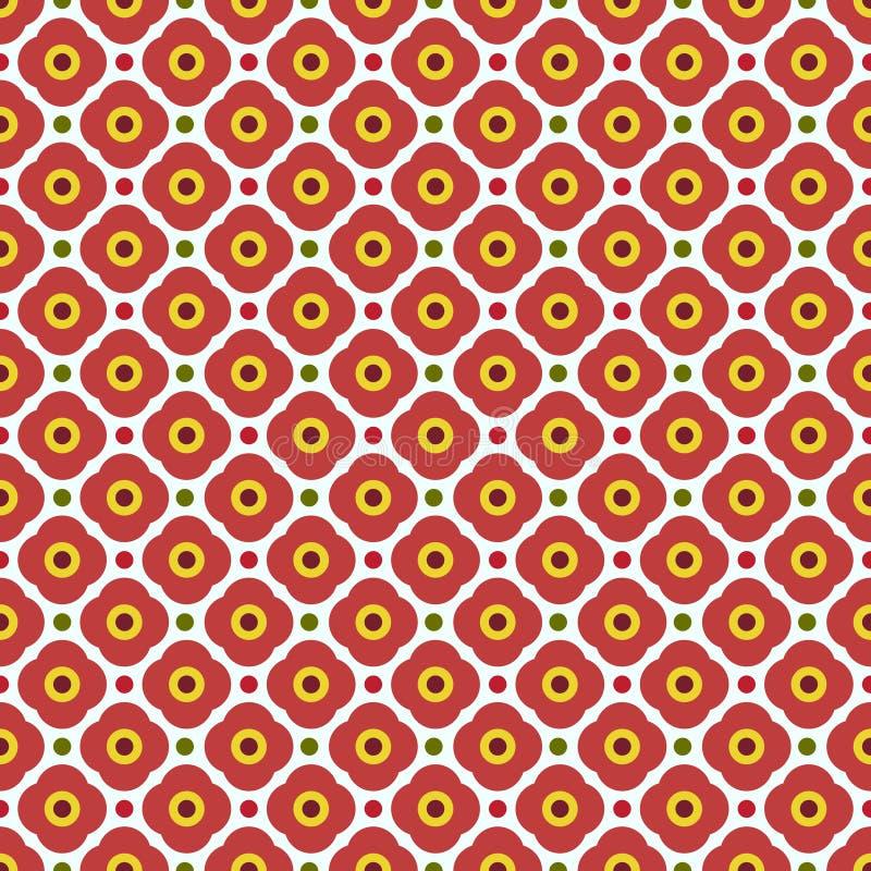 几何花无缝的样式。 免版税库存图片