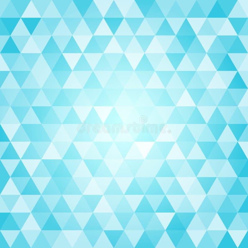 几何蓝色三角仿造与马赛克作用的背景 库存例证
