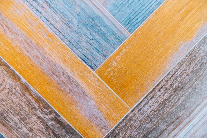几何蓝色和橙色瓦片样式纹理 库存照片