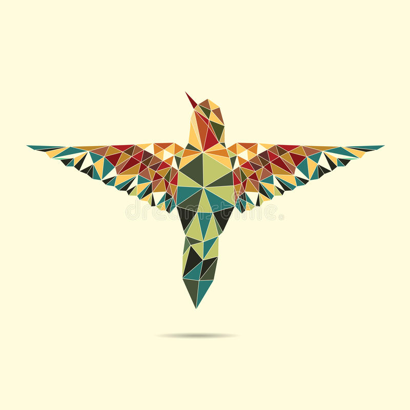 几何蜂鸟摘要颜色 库存例证