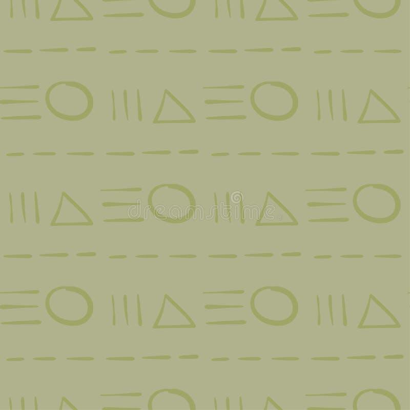 几何装饰品 橄榄绿无缝的样式 向量例证