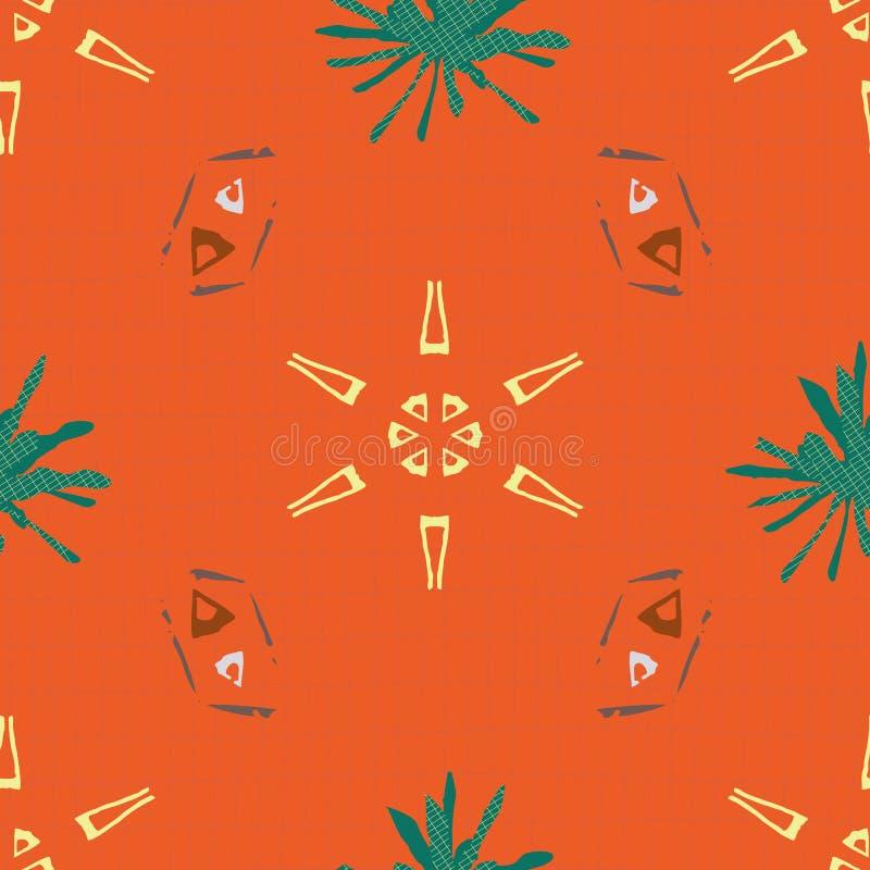 几何设计中的黄色、茶色和土褐色部落形状 橙色网格纹理上的无缝矢量图 向量例证